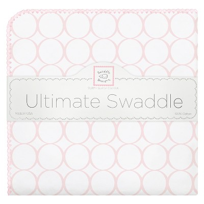 SwaddleDesigns® Ultimate Receiving Blanket - Mod Circles - Pastel Pink