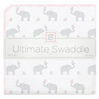 SwaddleDesigns® Ultimate Receiving Blanket - Elephant - Pastel Pink