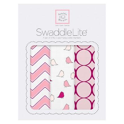 SwaddleDesigns® SwaddleLite® 3pk Blanket - Bird - Pink
