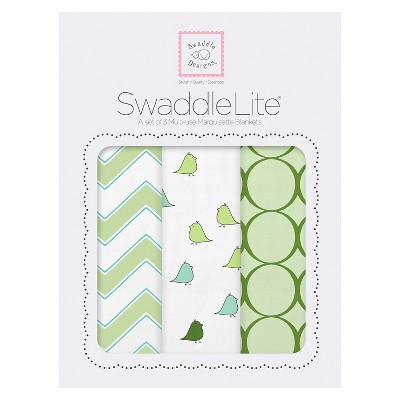SwaddleDesigns® SwaddleLite® 3pk Blanket - Bird - Kiwi