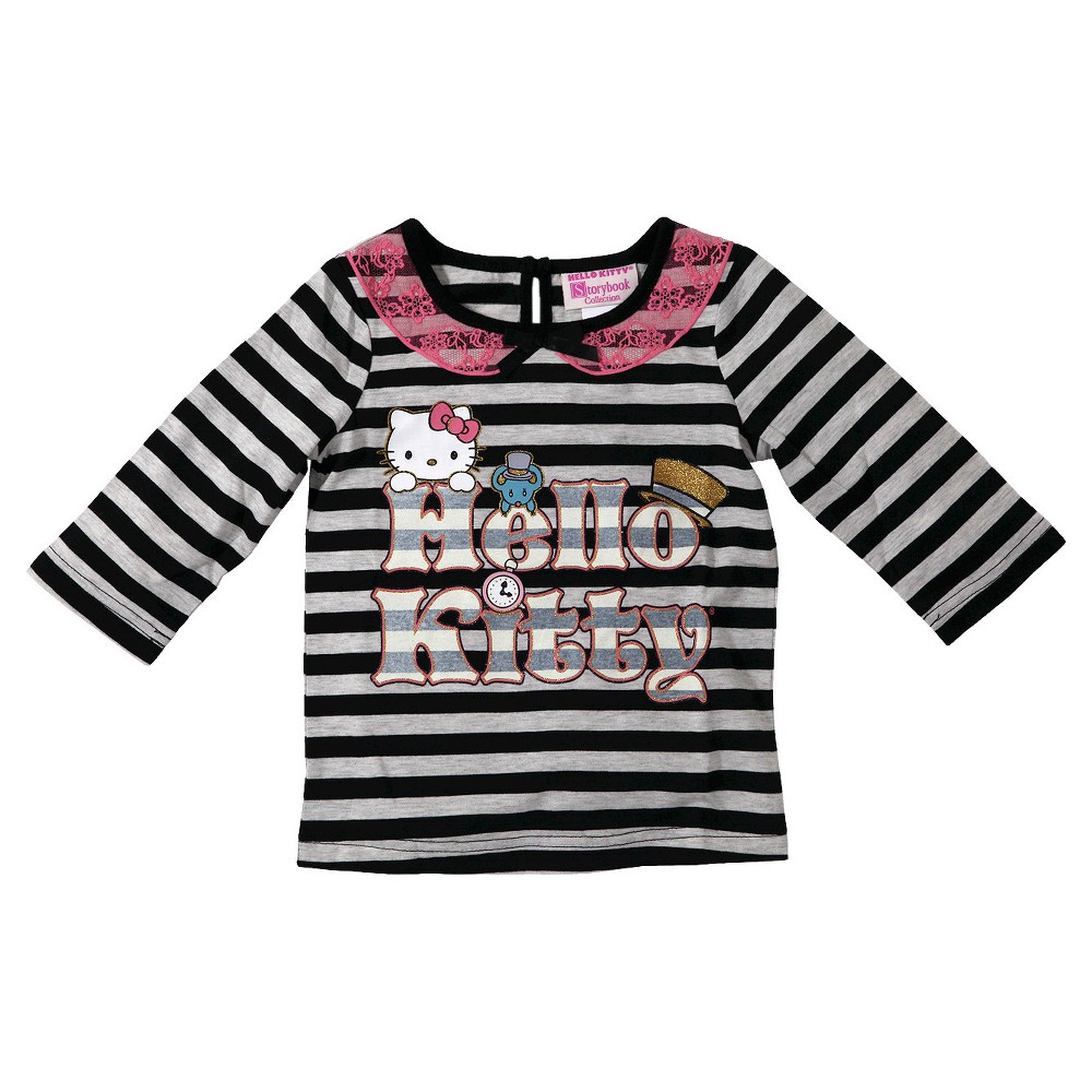 29bf5d743 UPC 490311326928 product image for Hello Kitty Toddler Girls' Striped Tee -  Black 18 M