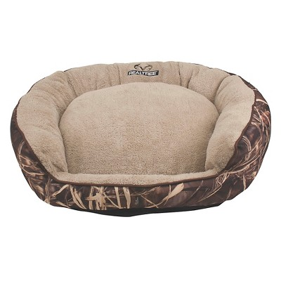 Realtree 36x30 Camo Bolster Bed with Brown Piping