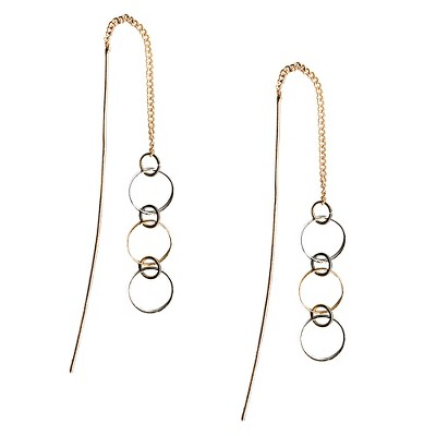 Women's Slider Earrings with Casted Rings - Two-Tone