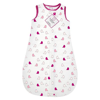 SwaddleDesigns® zzZipMe Sack® - Birds - Very Berry - 3-6 M