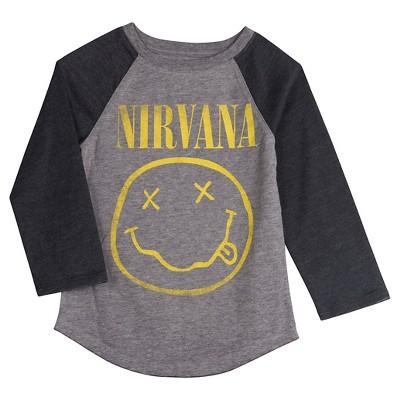 Toddler Girls' Nirvana Graphic Long Sleeve T-Shirt - Gray 18 M