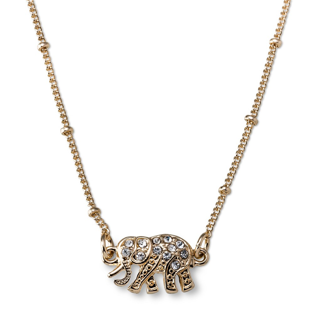 s elephant pendant necklace with pave clear gold 17 quot