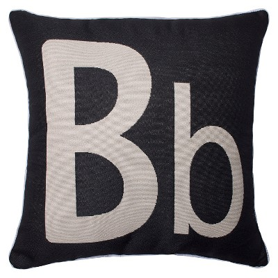 "Monogram 'B' Throw Pillow Black (18""x18"") - Pillow Perfect&#174:"