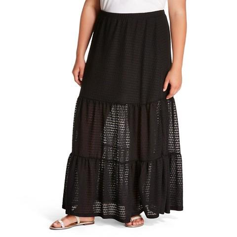 plus size crotchet lace maxi skirt black target