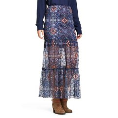 XHIL Printed Lace Maxi Skirt Blue