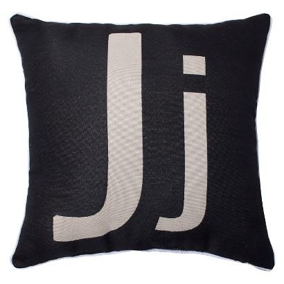 Pillow Perfect Monogram Throw Pillow - Black