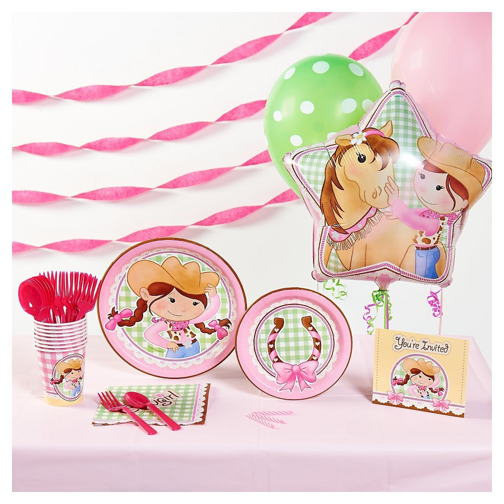 Pink Cowgirl Super Deluxe Party Kit for 16, Multi-Colored
