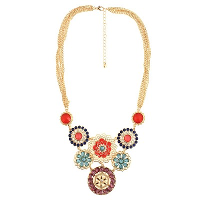 "Women's Statement Necklace - Multicolor (18"")"