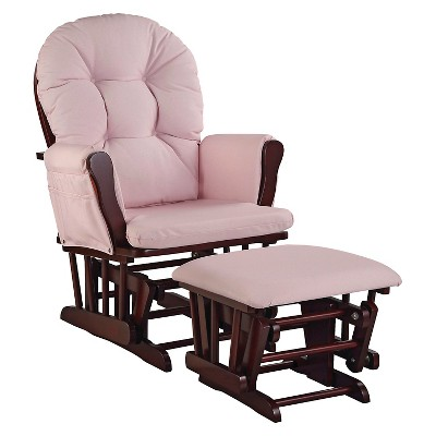 Stork Craft Hoop Cherry Glider and Ottoman - Pink Blush Swirl