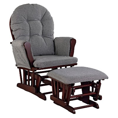 Stork Craft Hoop Cherry Glider and Ottoman - Slate Gray Swirl