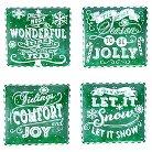"Certified International Chalkboard Christmas Assorted Dinner Plates Set of 4 - Green (10.5"")"