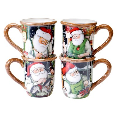 Certified International Santa's Workshop Assorted Mugs Set of 4 (16 oz.)