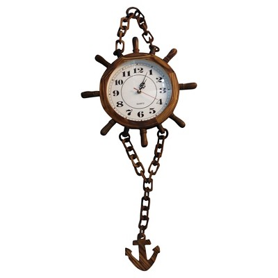 Creative Motions Nautical Wheel and Anchor Clock