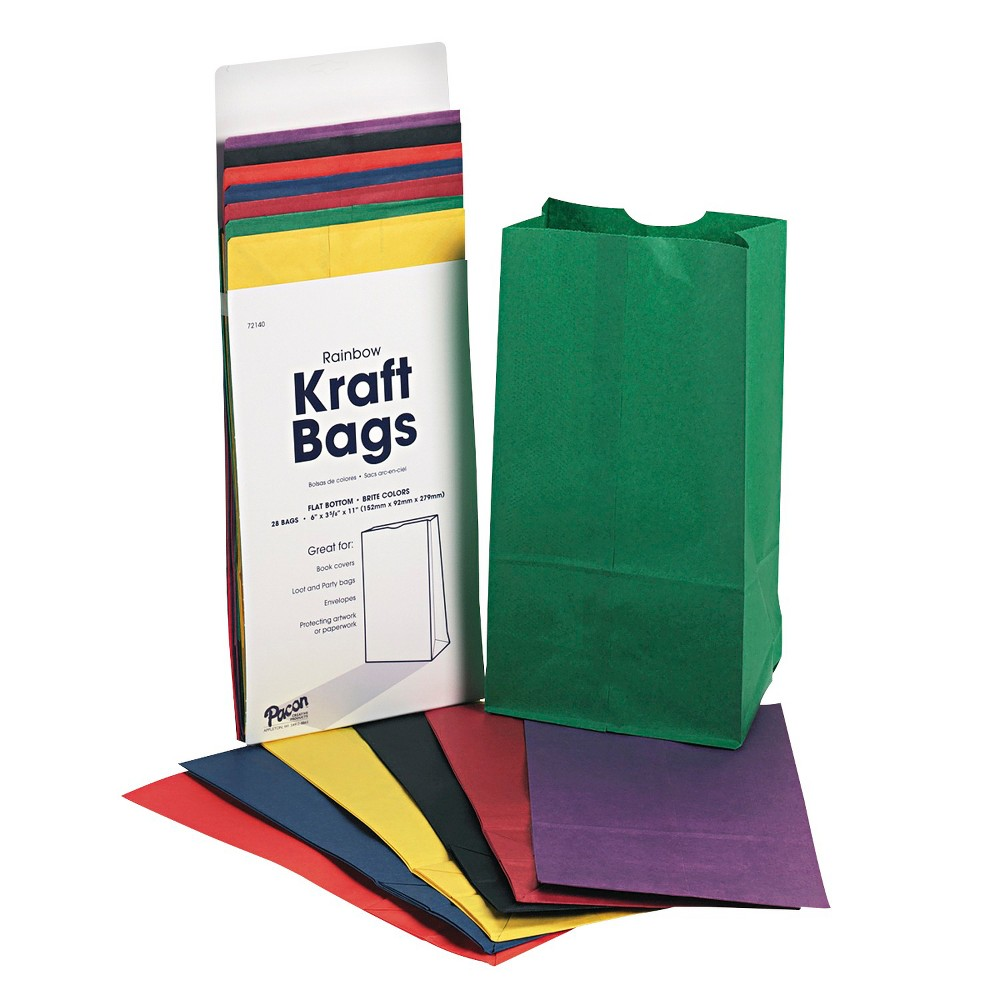 Pacon Rainbow Bags, 6# Uncoated Kraft Paper, 6 x 3 5/8 x 11 - Multi-Colored (28 Per Pack)