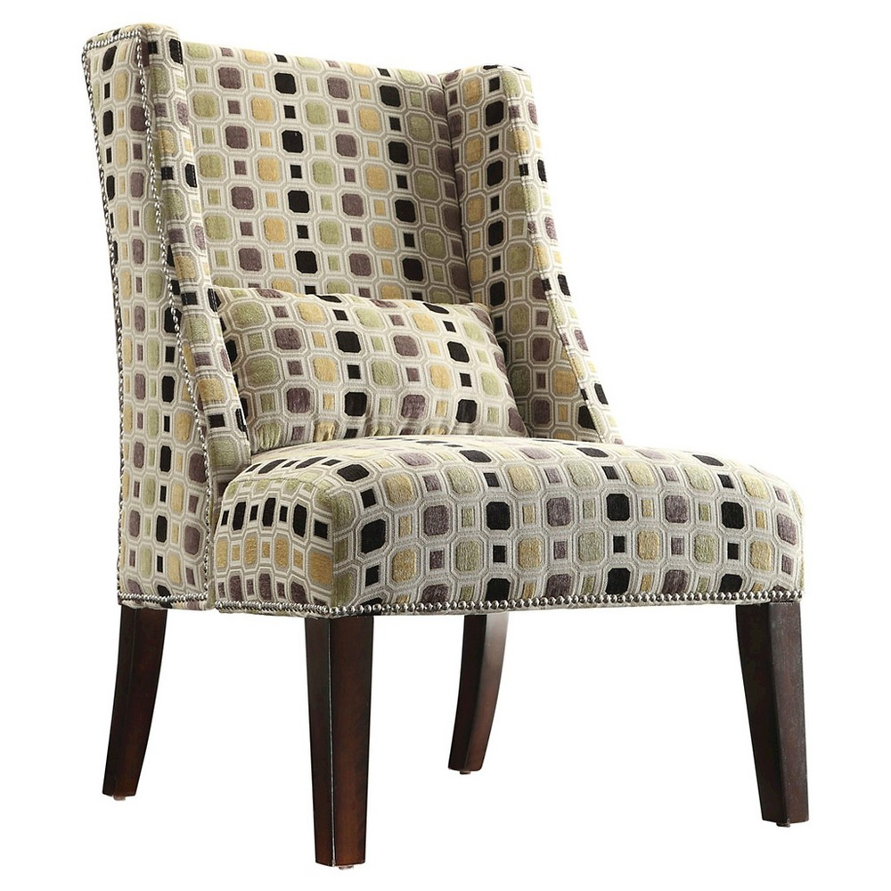 Armchair: Inspire Q Lennox Wingback Nailhead Accent Chair - Mid Century Hexagon, Multi-Colored