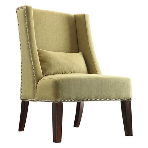 Lennox Wingback Nailhead Accent Chair Chartreuse Tar