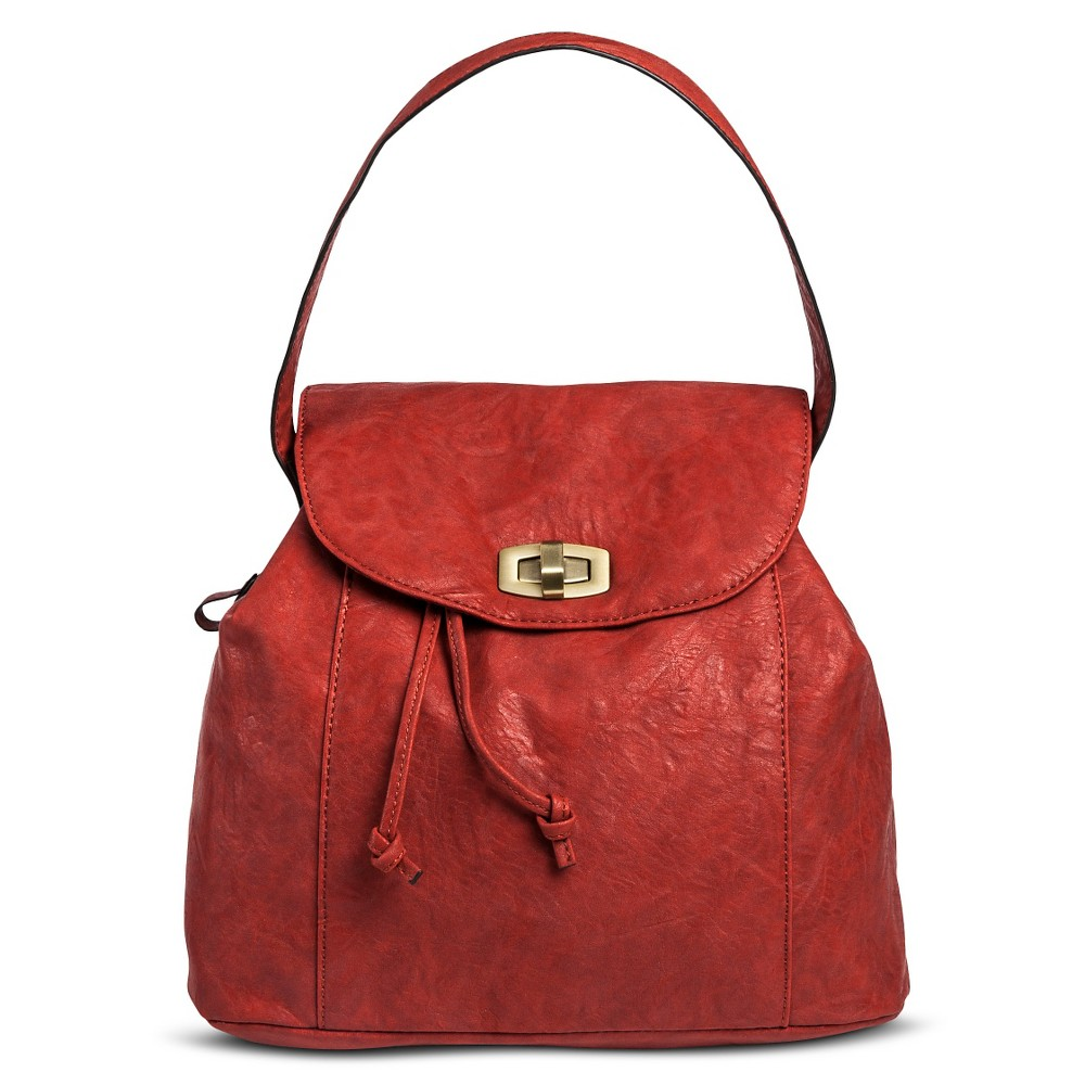 Women's Solid Convertible Backpack Crossbody Handbag - Red