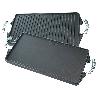 "Victoria Rectangular Cast Iron Reversible Grill Griddle with Cool-Touch Handles - 17.3"" x 9.4"""