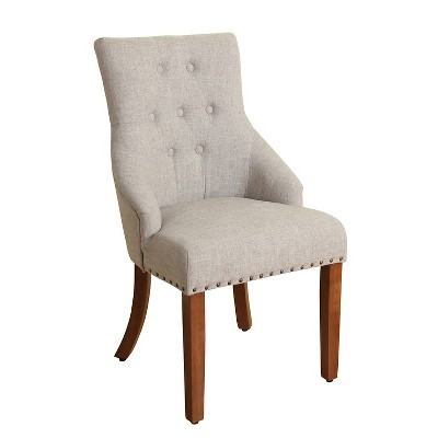 English Arm Dining Chair with Nailheads - Gray - The Industrial Shop™