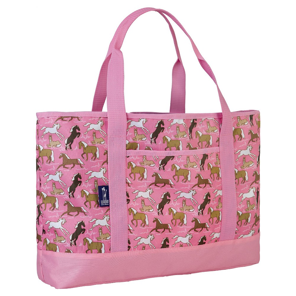 Wildkin Horses in Pink Zigzag Tote-All Backpack - Pink,  Women's
