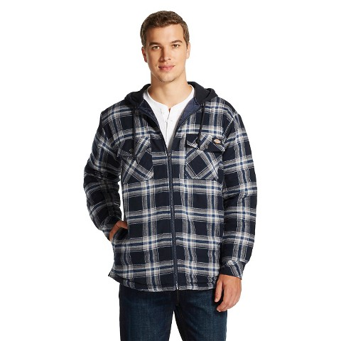 Dickies men 39 s big tall flannel hooded quilted target for Large tall flannel shirts