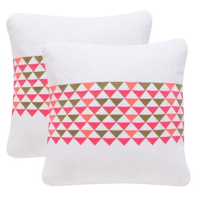 "Safavieh Geo Mountain Pillow Set Of 2 - Pink (20""x20"")"