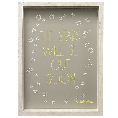 The Little Prince Wall Art - The Stars Will Be Out Soon Gray/Yellow