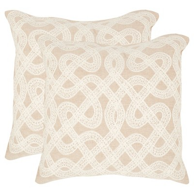 "Safavieh Lola Pillow Set Of 2 - Beige (22""x22"")"