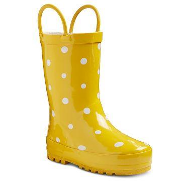 Toddler Girls' Polka Dot Rain Boots - Yellow