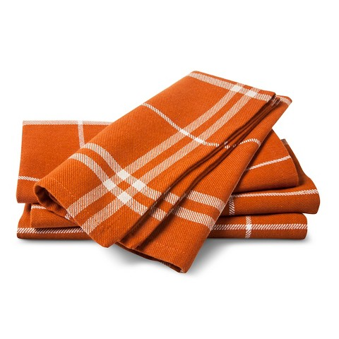 Threshold™ Napkin Set of 4 - Orange  Plaid