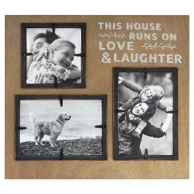 3 Opening Frame - Love & Laughter  - Holds 2-4x6 and 1-4x4 Photos