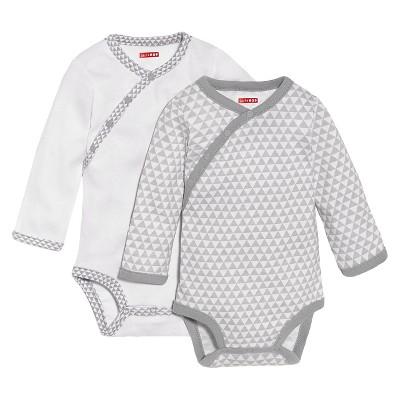 Skip Hop Petite Triangles Side-Snap Long Sleeve Newborn Bodysuit Set, Grey