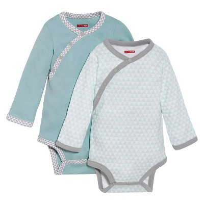 Skip Hop Newborn Boys' 2pk Long-sleeve Side-Snap Bodysuite - Blue 6 M