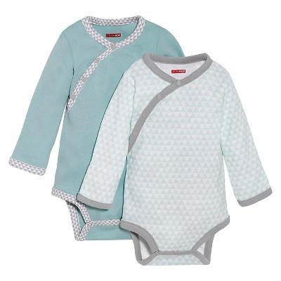 Skip Hop Petite Triangles Side-Snap Long Sleeve Newborn Bodysuit Set, Blue