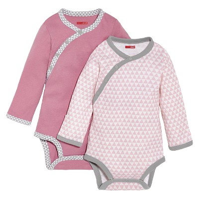 Skip Hop Newborn Girls' Long-sleeve' 2pk Side-Snap Bodysuite - Azalea NB