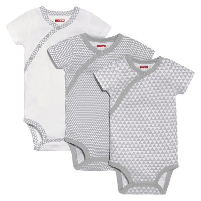 Skip Hop Petite Triangles Side-Snap Short Sleeve Bodysuit Set 9M, Grey
