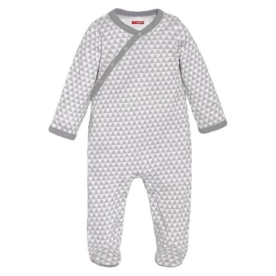 Skip Hop Petite Triangles Long Sleeve Side-Snap Footies Newborn, Grey
