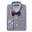 Men's Gingham Dress Shirt & Polka Dot Bow Tie Set Brown - Graham & Graham