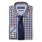 Men's Gingham Dress Shirt & Solid Tie Set Brown - Graham & Graham