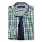 Men's Gingham Dress Shirt & Solid Tie Set Green - Graham & Graham