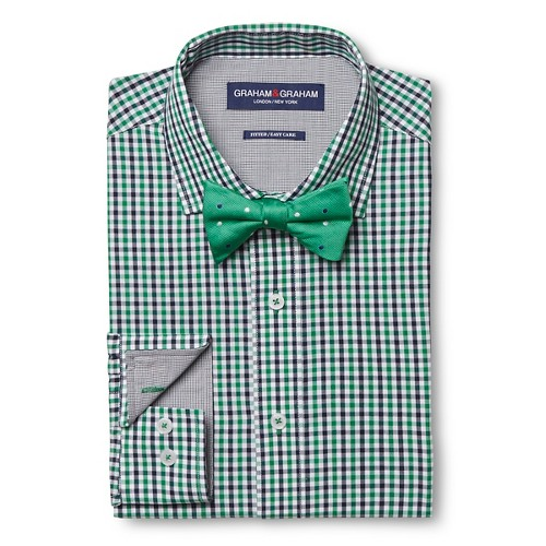 Men 39 S Gingham Dress Shirt Polka Dot Bow Tie Set Green
