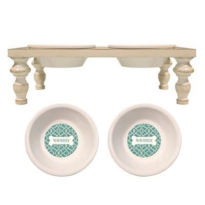 Waverly 6  Feed Set Pet Bowl - Ceramic Teal