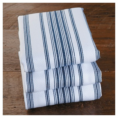 CHEFS Heavyweight Striped Kitchen Towels Set of 3 - Blue