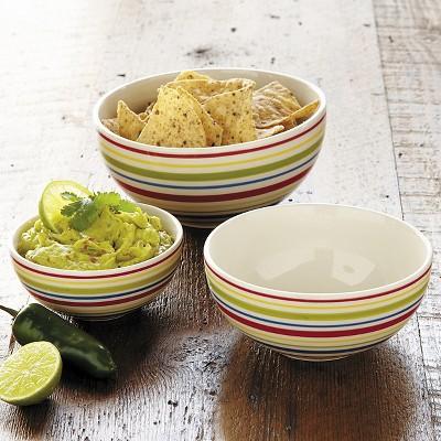 Ecom 3 Pc Serving Bowl Set Chefs Multi-colored Porcelain