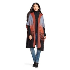 Women's Blue/Orange/Ebony Poncho Sweater - Merona™
