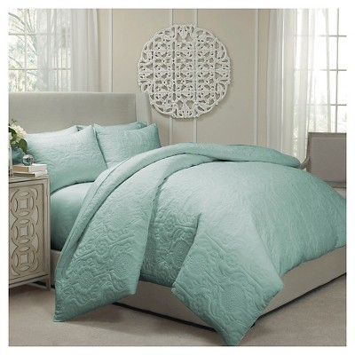 Vue Barcelona Quilted Coverlet and Duvet Ensemble -  Spa (Queen)